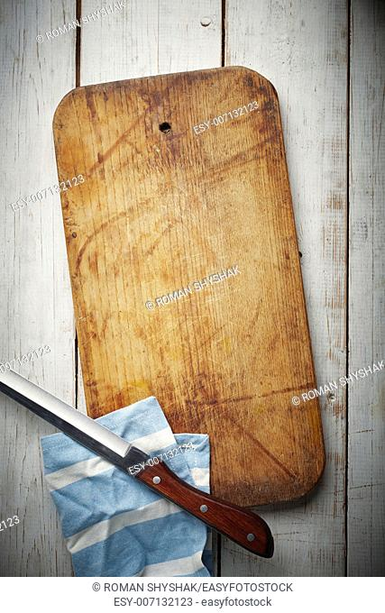 Wooden Board with knife and napkin