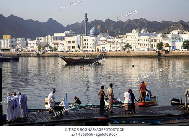 Oman, Muscat, Mutrah, harbour, fish market, people