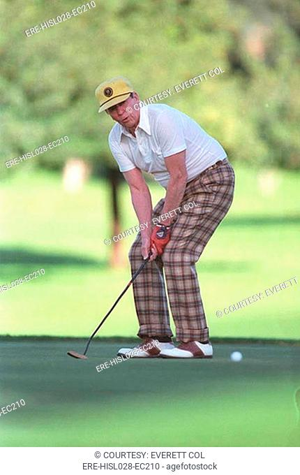 President Reagan playing golf at the Annenberg Estate in Rancho Mirage California. Dec. 30 1986