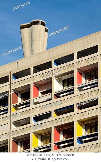 Colourful Balconies Cité Radieuse or Unité d'Habitation & Ventilation Shaft by Le Corbusier Marseille or Marseilles France