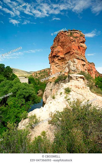 Beautiful blue skies above the rock butte at a Wyoming landmark