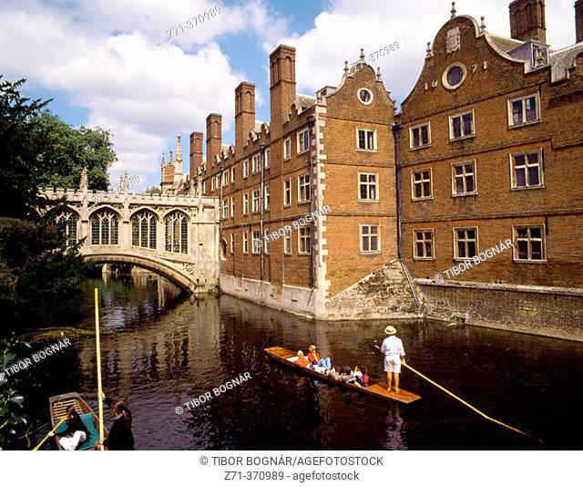 St. John's College and river Cam, Cambridge. England, UK