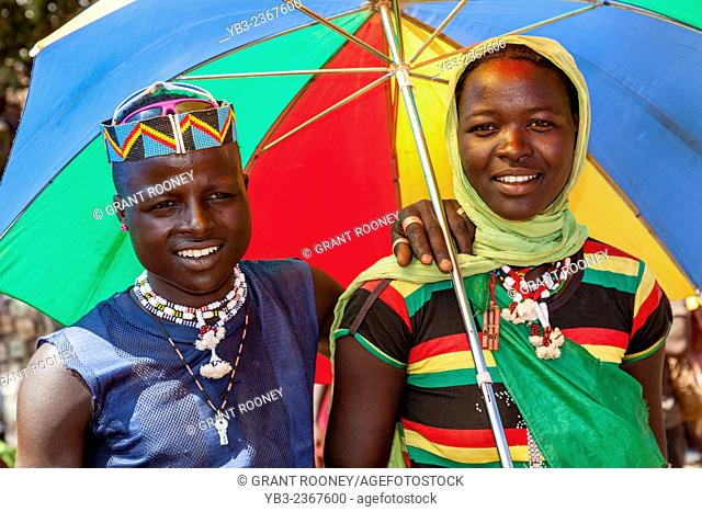 A Young Couple From The Banna Tribe At The Key Afer Thursday Market, The Omo Valley, Ethiopia