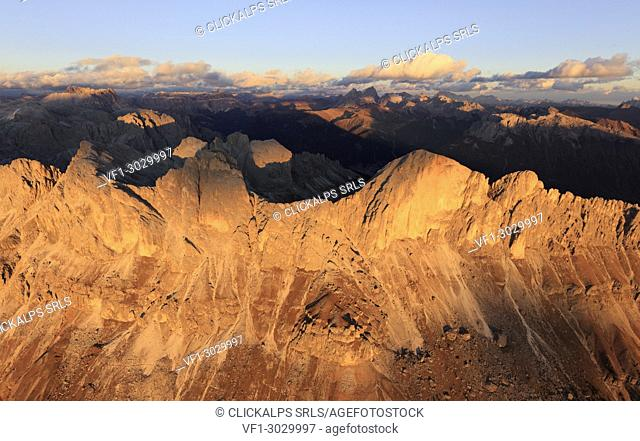 Aerial view of the rocky peaks of Roda Di Vael at sunset, Catinaccio Group (Rosengarten), Dolomites, South Tyrol, Italy