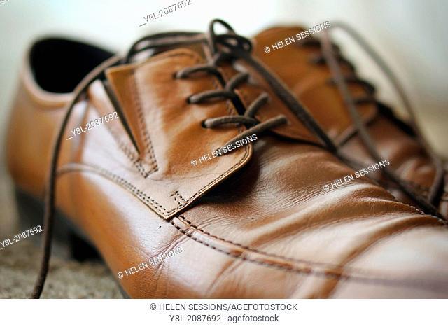 Men's Brown Leather Shoes, Closeup, Detail