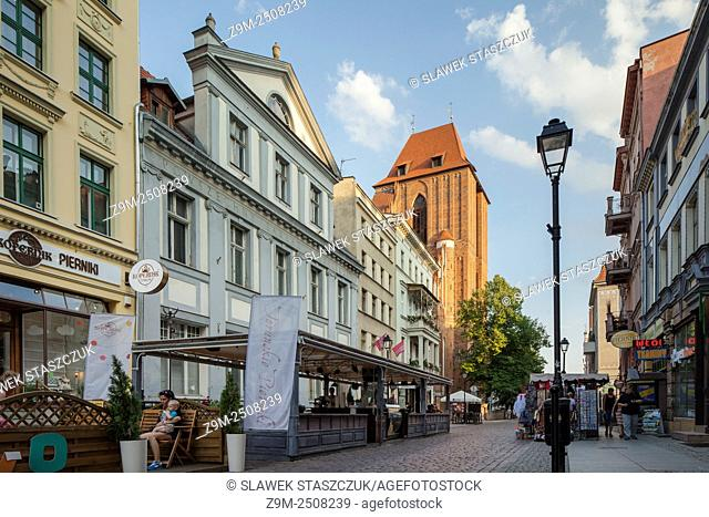 Afternoon on Zeglarska (Sailors' Street) in Torun old town, Kujawsko-Pomorskie province, Poland. UNESCO World Heritage Site