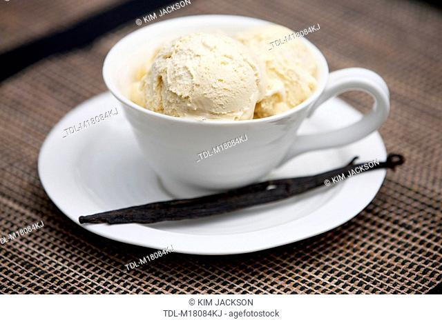 Vanilla icecream in a cup and saucer