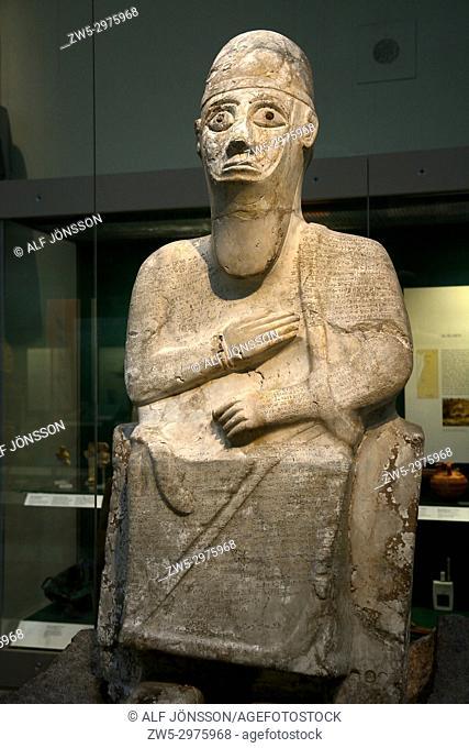 Statue of King Idrimi of Alalakh, 16th century b. c. on British Museum, London, UK
