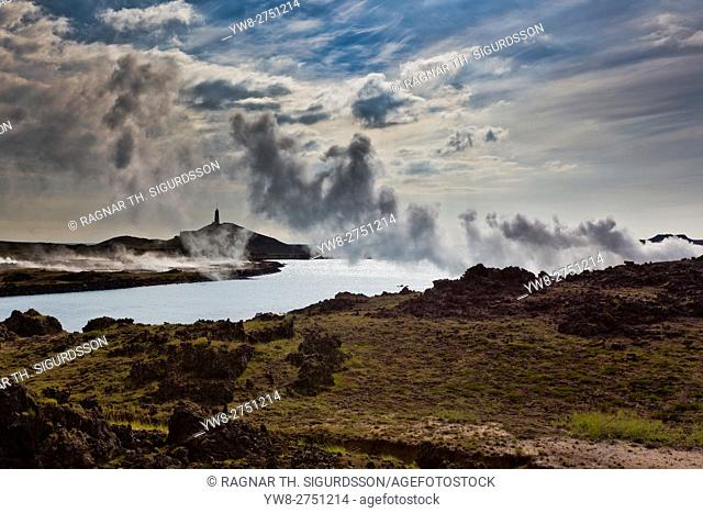 Reykjanes Lighthouse, Gunnuhver, Reykjanes Peninsula, Iceland. Gunnuhver-highly active geothermal area of mud pools and steam