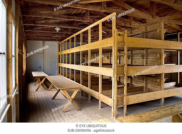 Dachau World War II Nazi Concentration Camp Memorial Site. Interior of reconstructed prisoner barracks