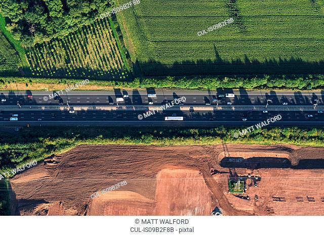 Aerial view of M5 Worcester motorway, Worcester, England, UK