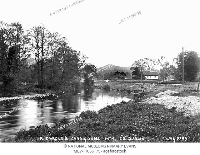 R. Dargle and Carrigorna Mountain. Co. Dublin - a view of the river and the mountain in the far distance, there is a thatched cottage on the right
