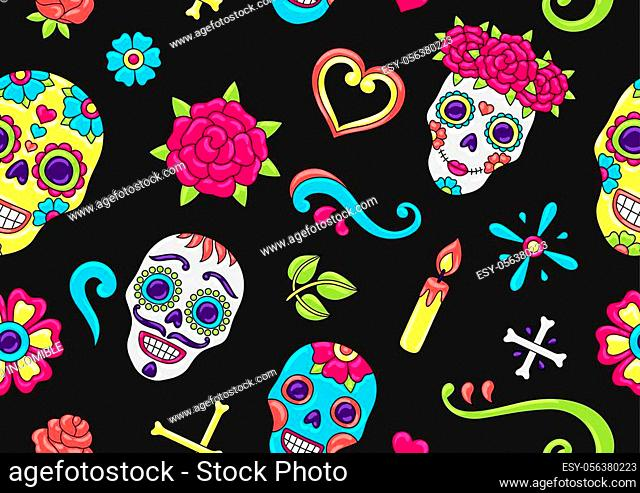 Day of the Dead seamless pattern. Sugar skulls with floral ornament. Mexican talavera ceramic tile traditional decorative objects