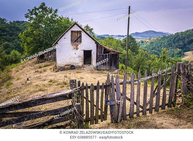 Small farm between Guca town and Vuckovica village in Lucani municipality, Moravica District of Serbia