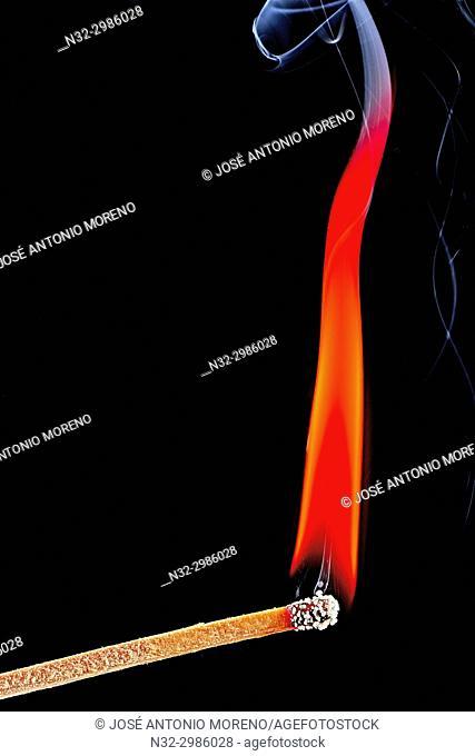 Andalusia, Benalmadena, Phosphorus flame with smoke, Lighting a match, Malaga province, Spain