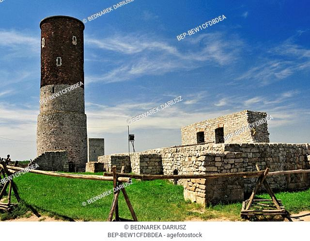Ruins of the royal castle in Chentshin, Swietokrzyskie Voivodeship, Poland. The construction of the fortress probably began around the 13th or 14th century