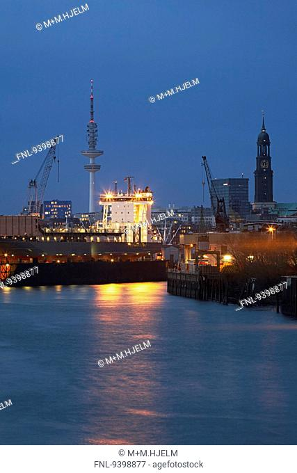 Container terminal Hamburg at night, Germany