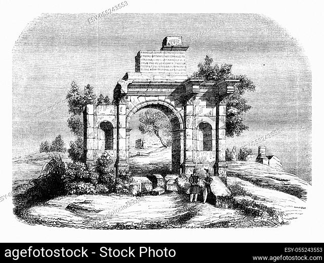 Algeria, Djemila triumphal arch, indicated to be transported to Paris, vintage engraved illustration. Magasin Pittoresque 1843