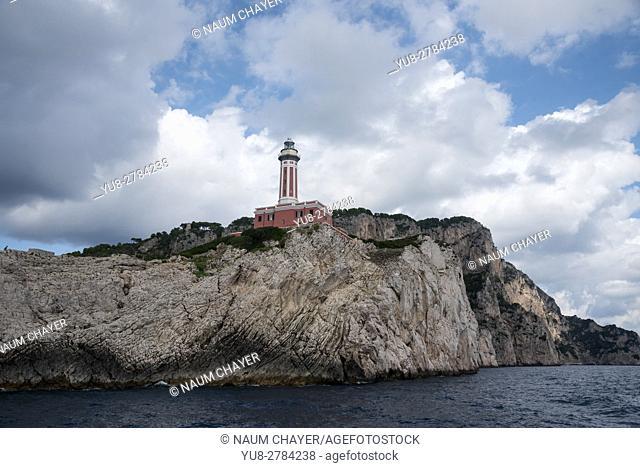An active lighthouse Punta Carena Lighthouse , Capri, an island, Bay of Naples, Italy, Europe