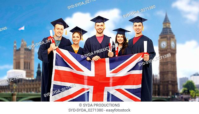 graduate students with diplomas and british flag