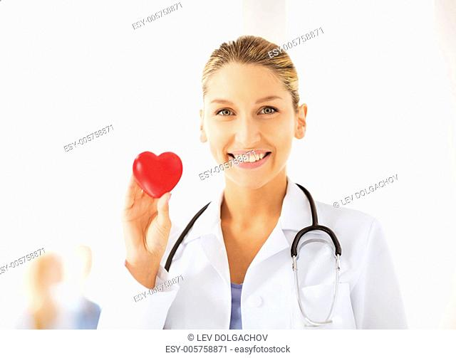 bright picture of female doctor with heart