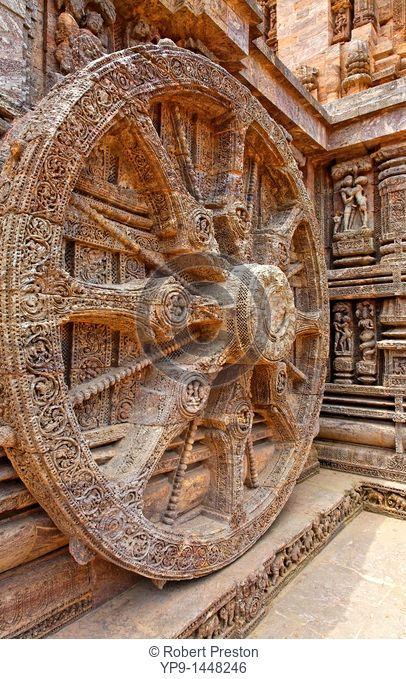 India - Orissa - Konark - sculpted chariot wheels at the Sun Temple