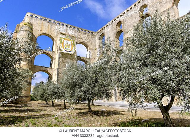 Olive trees and Amoreira Aqueduct, Garrison Border Town of Elvas and its Fortifications, Portalegre District, Alentejo Region, Portugal, Europe