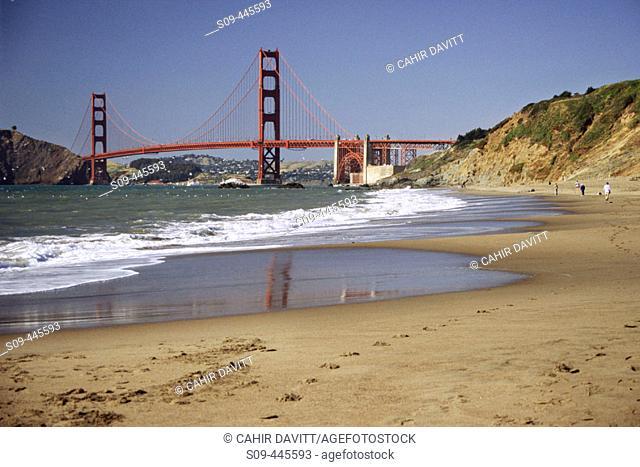 Golden Gate Bridge viewed from the beach adjacent to the Presidio, San Francisco. California, USA