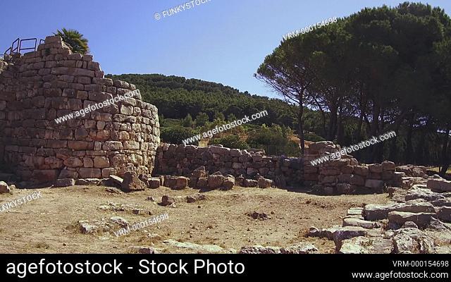 Nuraghe Palmavera, Alghero, Sardinia : prehistoric Bronze age archaeological ruins of a well preserved stone nuragic nuraghe tower