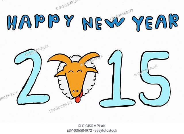 hand draw sketch Greeting New Year 2015