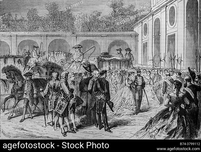 marriage of the infant mary isabelle of spain and the count of girgenti, the illustrious universe, publisher michel levy 1868
