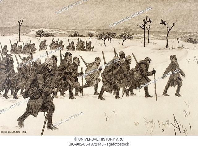 Moroccon soldiers advancing through the snow to the front line during the First World War. After a work by Georges Leroux. From L'Illustration, 1918