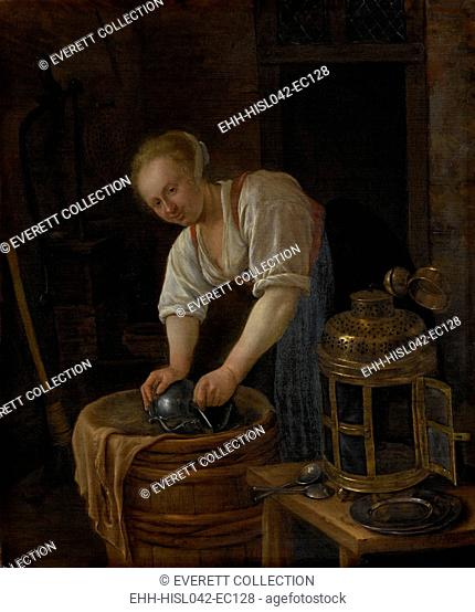 Woman Scouring Metalware, by Jan Steen, 1650-60, Dutch painting, oil on panel. Smiling young woman polishing a metal vessel with dried grass on a barrel