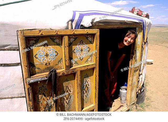 Mongolian Woman in Ger at the Nomadic Country of Mongolia