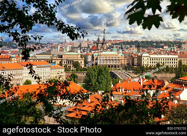 Rudolfinum, Faculty of Arts, Charles University, Mánes bridge, Moldau river, Prague, Czech Republic, Europe