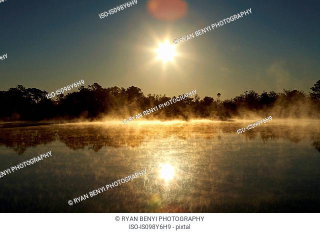 Sunrise over lake, Florida, USA
