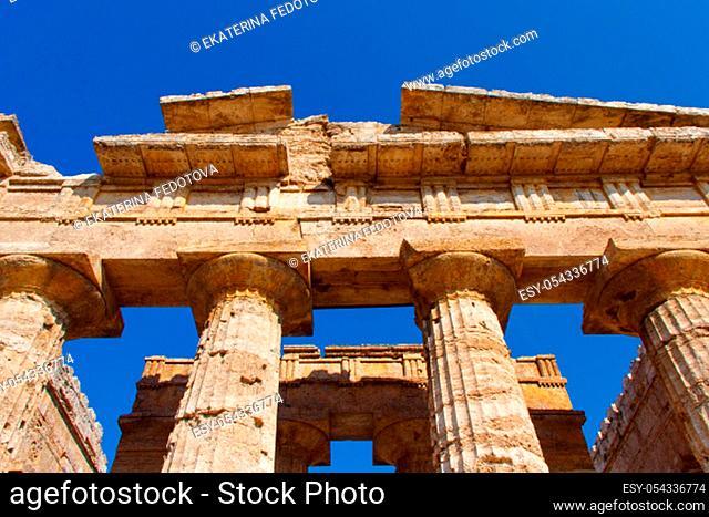 The greek Temple of Hera-II in the archaeological site of Paestum (Poseidonia), Salerno, Campania, Italy