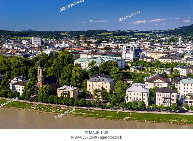 Austria, 'Salzburg Land' (district), Salzburg, view from the Mönchsberg (mountain) to the right side of the old town with Christuskirche and Mirabell Palace