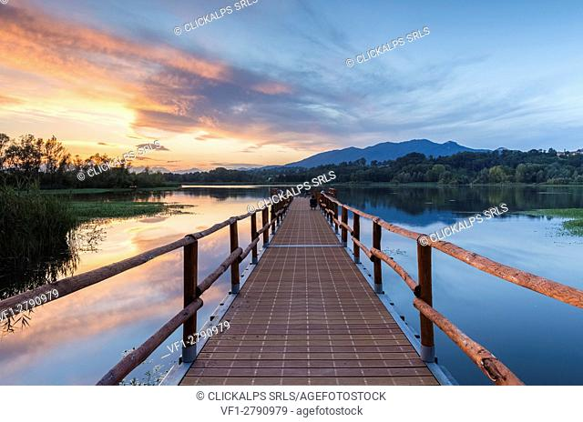 Sunset on the new pier of Capolago, Varese Province, Lombardy, Italy