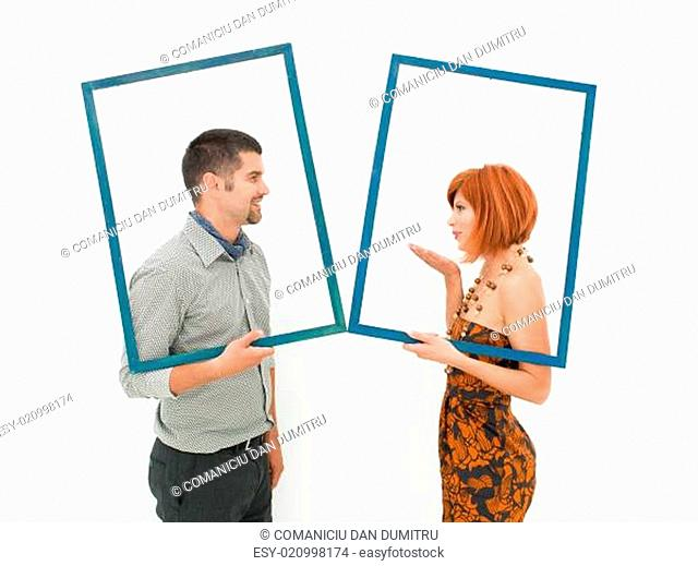 affectionate moment between man and woman