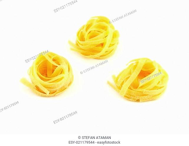 Tagliatelle, isolated a white background