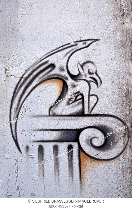 Mythical creature, winged demon from hell, graffiti on a wall