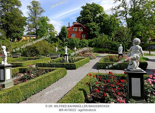 Rose garden, Skansen open-air museum, Djugarden, Stockholm, Sweden