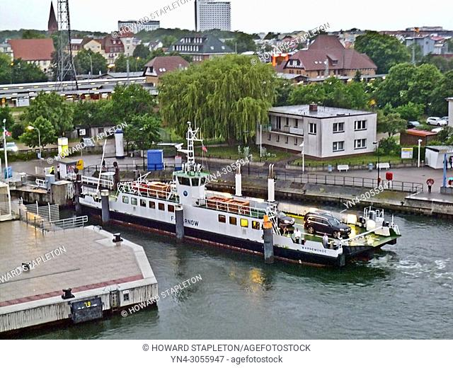 Ferry slip and dock at Warnemünde on the Warnow River, Germany