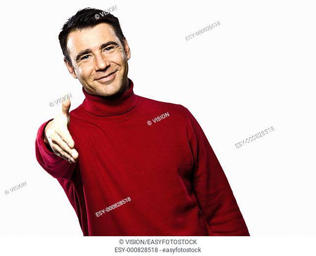 caucasian man handshake gesture cheerful studio portrait on isolated white backgound