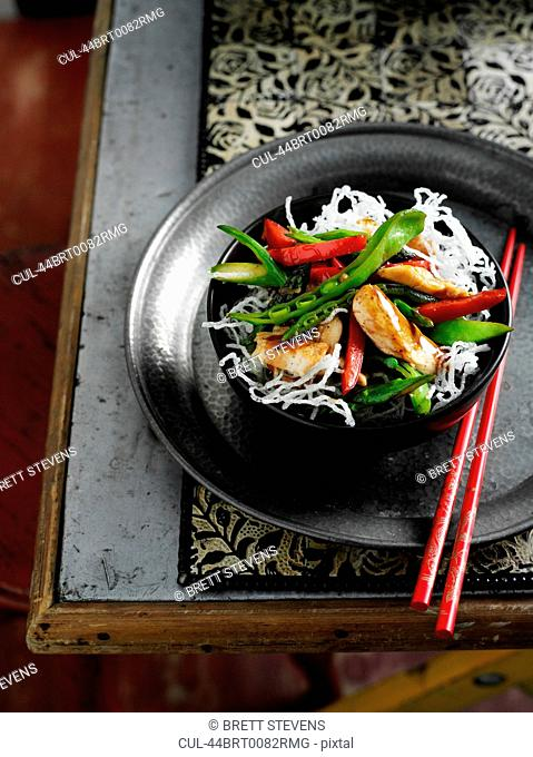 Bowl of noodles with meat and vegetables
