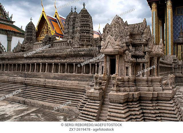 Model of the old temple in the rand Palace in Bangkok, Thailand. Bangkok kings palace ancient temple in thailand