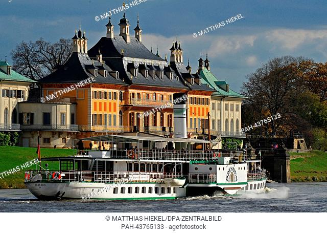 The steamer Dresden built in 1926 goes past the Pillnitz Castle on the Elbe river in Dresden, Germany, 30 October 2013. Today