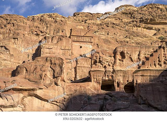 tombs in the landscape around the ancient city of Petra, Jordan, Asia