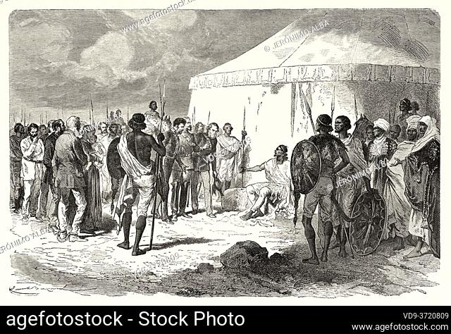 Hormuzd Rassam being received by Tewodros II in Abyssinia, Ethiopia. Old 19th century engraved, Narrative of a Journey through Abyssinia by Guillaume Lejean...